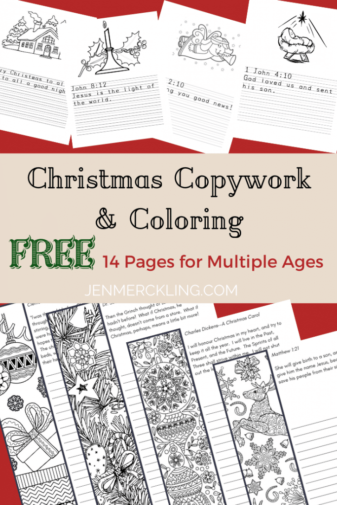 Check out these free homeschool printables! There's 14 handwriting worksheets of Christmas themed Copywork for multiple age levels (Kindergarten, Elementary, and Middle School). Even better, the worksheets include coloring pages! Get your homeschooler some writing practice over the holidays with these amazing free resources!! #Christmas #homeschool #printables #free #copywork #holidays #handwriting