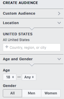 Facebook Audience Insights prompts you to enter broad demographic and location information as the initial step to building your target audience.