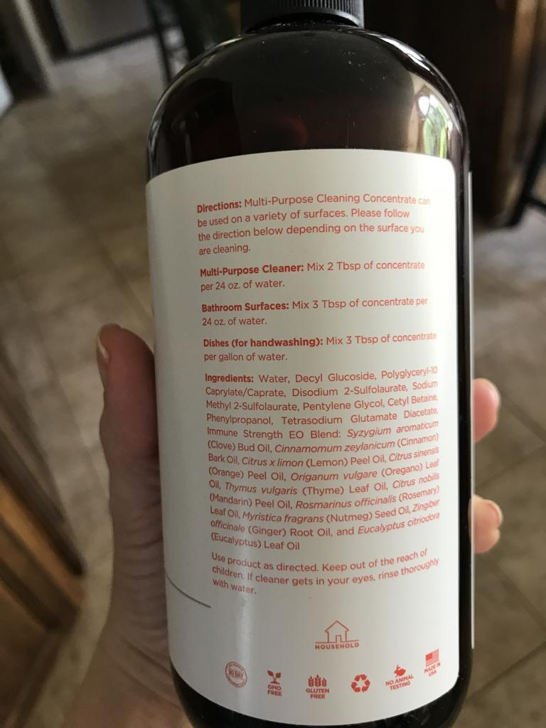 Directions from the bottle for Tohi Hard Surface Cleaner