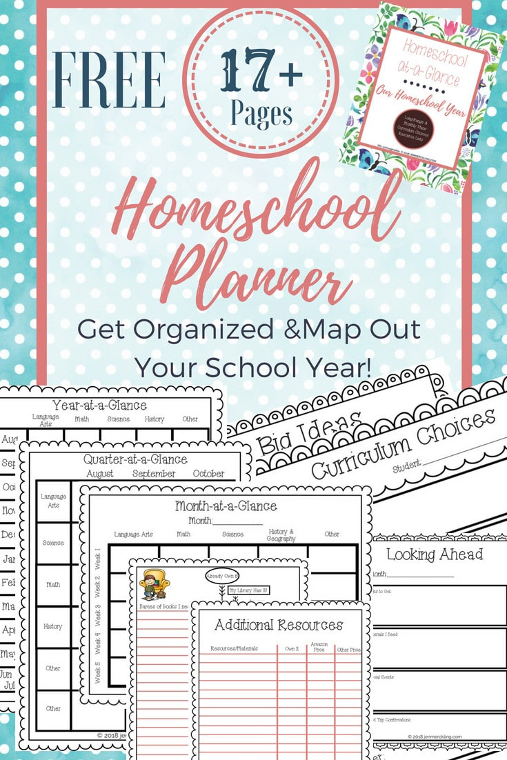 Sharing my free homeschool planner and how I use it to map out my entire school year! A great resource for keeping track of curriculum, books and materials, and student goals! Long range lesson planning will help you see the big picture, stay on track, and get organized!