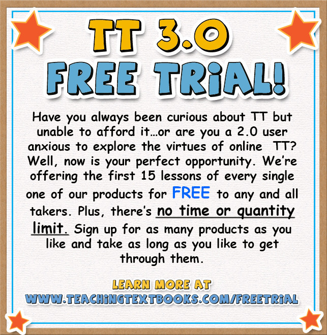 Teaching Textbooks 3.0 Free Trial Offer