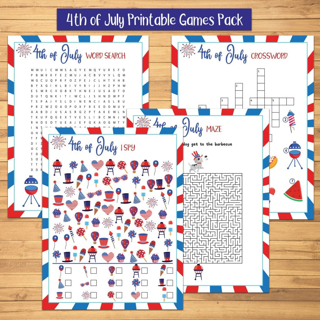 4th of July Printable Game Pack