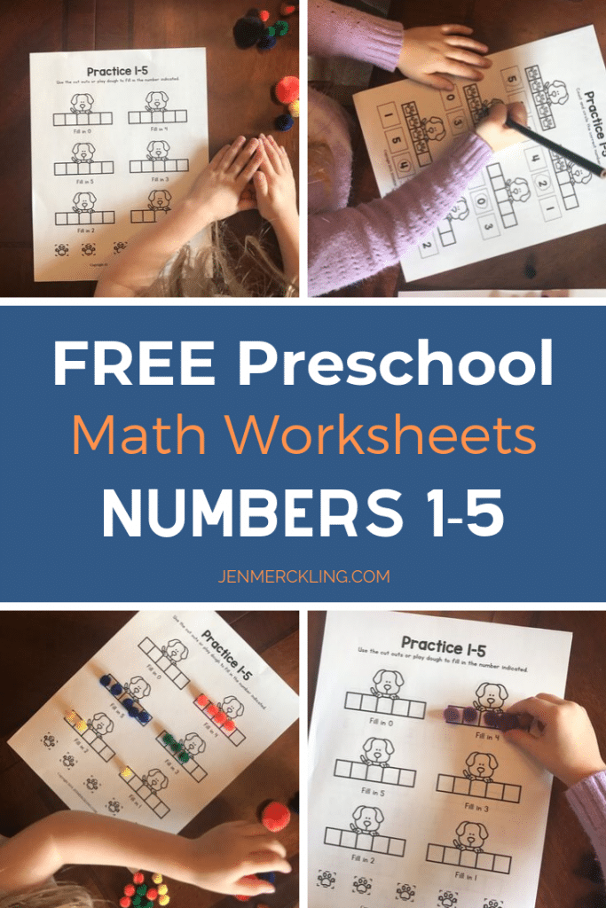 Free Preschool Math Worksheets (Numbers 1-5) Jen Merckling