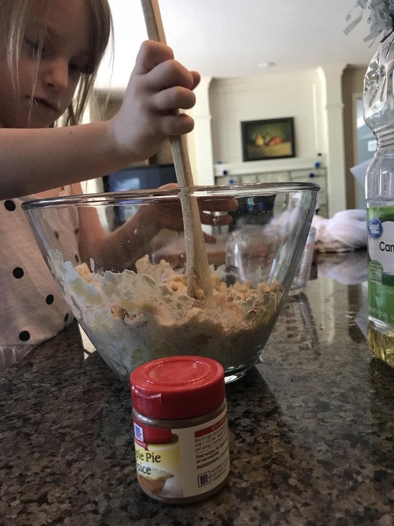 Making Apple Cloud Dough! Part of Letter A and Apple Preschool Theme